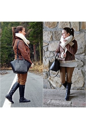black Stradivarius boots - brown H&M jacket - white Orsay scarf