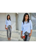 sky blue sweater - gray pants
