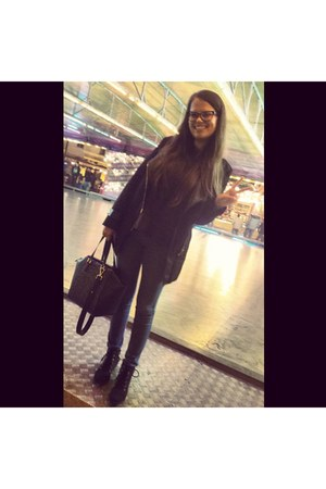 black H&M shoes - black Sheinside jacket - black H&M shirt - dark gray H&M bag