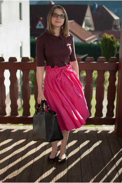 hot pink midi asos skirt - crimson Pretty Ballerinas shoes - black Zara bag