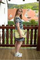 white H&M dress - chartreuse asos bag - green marimekko print Converse sneakers