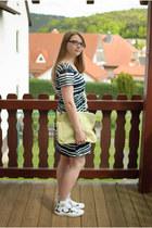 white H&M dress - chartreuse asos bag - green marimekko print Converse sneakers