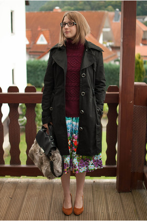sky blue midi asos skirt - black trench Spoom coat