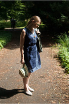 cream Seeberger hat - silver TOMS shoes - navy H&M dress