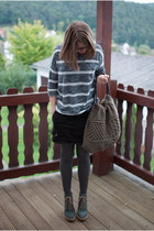gray asos tights - navy asos shoes - charcoal gray lose H&M sweater