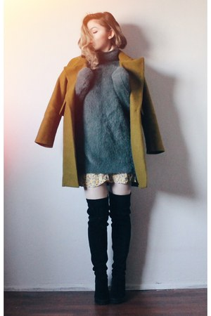 H&M boots - from Korea coat - from Korea sweater - H&M skirt