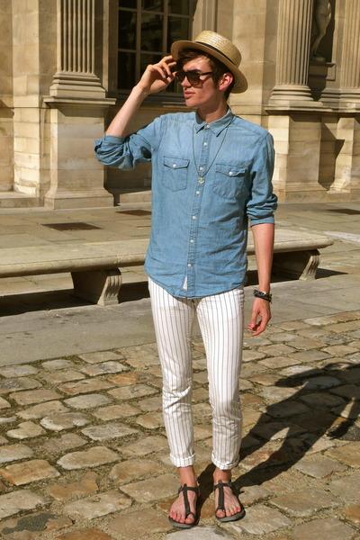 camel headict hat - white Marc by Marc Jacobs pants - blue asos accessories