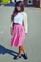 bubble gum Primark skirt - black asos shoes - white jacket - white Topshop top