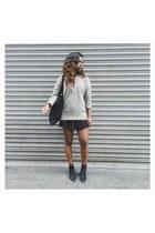 silver Primark jumper - black asos boots - black skirt