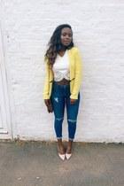 peach shoes - navy jeans - light yellow Zara blazer - white Topshop top
