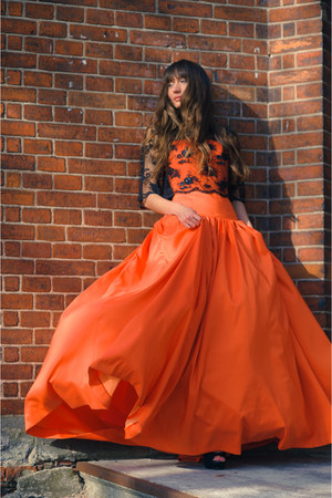 orange EFL dress - lace EFL blouse