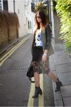 black Zara boots - dark khaki Primark jacket - black balenciaga bag