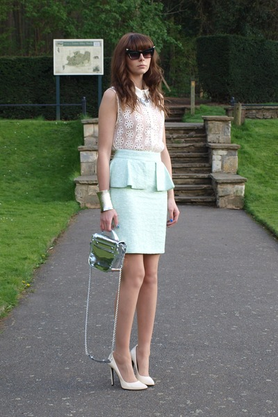 light blue tweed peplum Zara skirt - silver chain shoulder Kurt Geiger bag