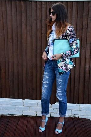 navy Zara jeans - black floral print MinkPink blazer - white Zara shirt