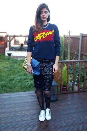 navy new look jumper - navy asos bag - black new look skirt