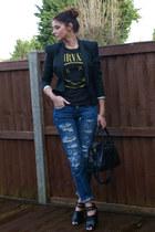black Topshop blazer - blue Zara jeans - black balenciaga bag - black asos heels