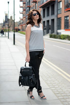 black Topshop bag - black Kurt Geiger heels - black Peacocks pants