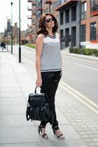 black Topshop bag - black Kurt Geiger heels - black Peacocks pants