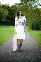 white H&M jumper - heather gray Topshop boots - light pink Primark coat