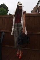 beige faux fur Primark vest - beige Primark hat - black balenciaga bag
