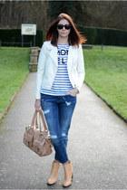 white H&M jacket - camel Zara boots - navy Zara jeans - camel Mulberry bag