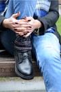 Black-bershka-boots-sky-blue-bershka-jeans-black-h-m-hat-blue-zara-scarf