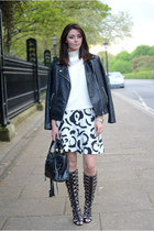 black Forever 21 jacket - black balenciaga bag - white Choies skirt