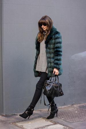 forest green faux fur Fashion Union coat