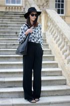 black H&M hat - white new look shirt - black asos bag - black next sandals