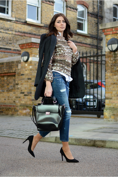 navy Zara jeans - black next coat - pink Zara jumper