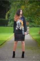black Primark boots - black Ebay bag - black Primark sweatshirt
