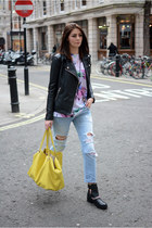 black River Island boots - sky blue Zara jeans - black Forever 21 jacket
