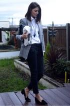 black Zara jeans - silver Mango blazer - white Primark shirt - black Zara bag