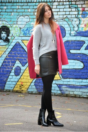 black H&M skirt - black Zara boots - hot pink Primark coat - silver H&M jumper