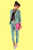 light blue floral print Primark blazer