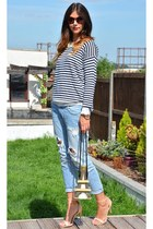 blue striped Primark sweater - sky blue Zara jeans