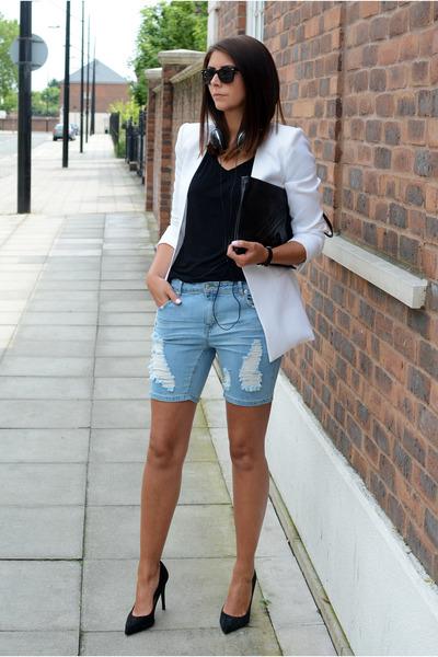 black Choies bag - white Forever 21 blazer - sky blue Forever 21 shorts