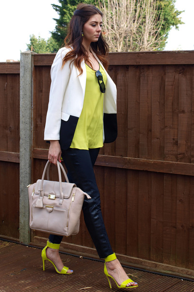 Zara leggings - Primark blazer - Topshop bag - H&M heels - River Island top