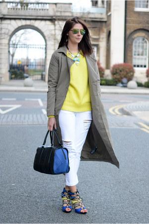 dark khaki Noisy May coat - white Boohoo jeans - black next bag
