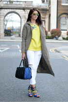 dark khaki Noisy May coat - white Boohoo jeans - black next bag