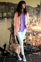 peach H&M blazer - light blue H&M jeans - light purple Miss Selfridge shirt