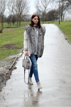 heather gray Zara boots - light pink new look coat - navy Bershka jeans
