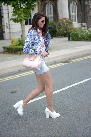 pink Miss Selfridge bag - blue Boohoo jacket - light pink Primark shirt