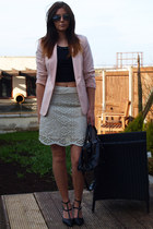 black Forever 21 top - peach Primark blazer - black balenciaga bag