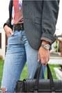 Sky-blue-primark-jeans-gray-primark-blazer-black-zara-bag