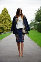 navy H&M coat - eggshell Topshop bag - navy Zara skirt - mustard Topshop heels