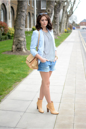 camel Zara boots - sky blue pastel Primark blazer - camel warehouse bag
