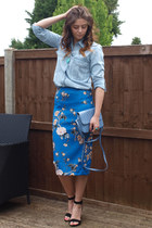 light blue Zara shirt - sky blue Ebay bag - black Zara heels - blue Zara skirt