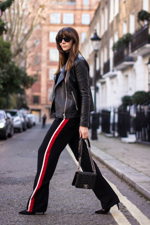 black wide leg stripe Zara pants