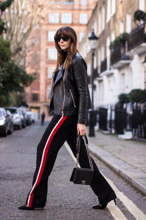 black wide leg stripe Zara pants
